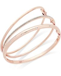 Macy's - Diamond (1/4 Ct. T.w.) Stackable Trio Bangle Bracelet Set In 14k Gold-plated Sterling Silver - Lyst