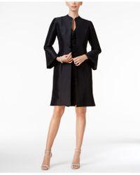 B Michael Taffeta Bell-sleeve Topper Evening Jacket - Black