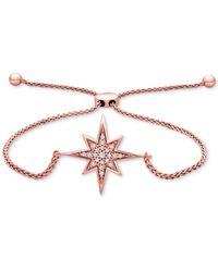 Macy's Diamond Compass Rose Bolo Bracelet (1/10 Ct. T.w.) In 14k Rose Gold - Pink