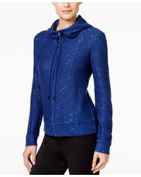 Anne Klein Sequined Knit Hoodie, Only At Macy's - Blue
