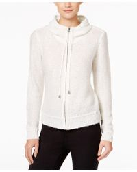 Anne Klein Sequined Knit Hoodie, Only At Macy's - White