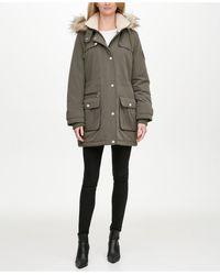 DKNY Faux-fur Trim Hooded Water-resistant Anorak Coat - Green