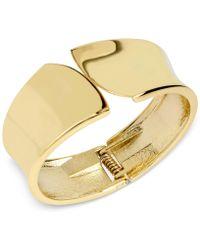 Hint Of Gold - 14k Gold-plated Brass Polished Sculptured Hinged Bangle Bracelet - Lyst