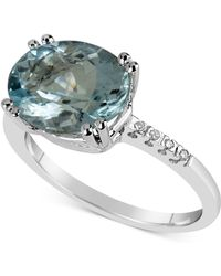 Macy's - Aquamarine (3 Ct. T.w.) & Diamond Accent Ring In 14k White Gold - Lyst