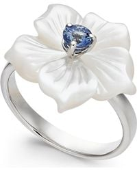 Macy's Mother-of-pearl & Tanzanite (1/4 Ct. T.w.) Flower Statement Ring In Sterling Silver - Metallic