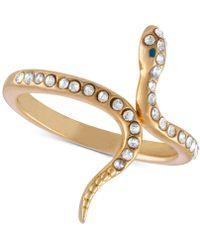 RACHEL Rachel Roy - Gold-tone Crystal Studded Snake Ring - Lyst