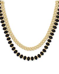 """Kendra Scott 14k Gold-plated Link & Genuine Stone Beaded Layered Necklace, 16"""" + 2"""" Extender - Metallic"""