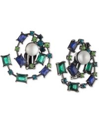 Carolee - Hematite-tone Crystal & Freshwater Pearl (10mm) Spiral Clip-on Button Earrings - Lyst