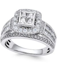 Macy's - Diamond Quad Cluster Engagement Ring (1-1/2 Ct. T.w.) In 14k White Gold - Lyst