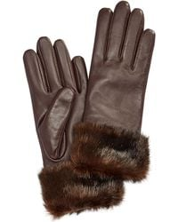Charter Club Faux Fur Cuff Leather Tech Gloves - Multicolor
