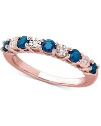 Macy's London Blue Topaz (5/8 Ct. T.w.) & Diamond Accent Ring In 14k Rose Gold