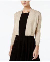Calvin Klein Petite Three-quarter-sleeve Glitter Shrug Cardigan - Metallic