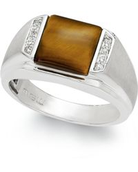 Macy's - Men's Tiger's Eye (2-2/3 Ct. T.w.) And Diamond Accent Ring In Sterling Silver - Lyst