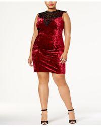Almost Famous Trendy Plus Size Lace-trim Velvet Dress - Red