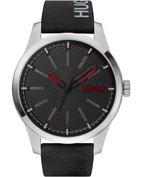 HUGO #invent Black Leather Strap Watch 46mm