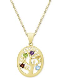"""Macy's - Multi-gemstone Tree Of Life 18"""" Pendant Necklace (3/4 Ct. T.w.) In 18k Gold-plated Sterling Silver - Lyst"""