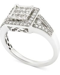 Macy's - Diamond Square Cluster Engagement Ring (3/4 Ct. T.w.) In 14k White Gold - Lyst