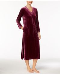 Charter Club Velour Embroidered-neckline Long Robe, Created For Macy's