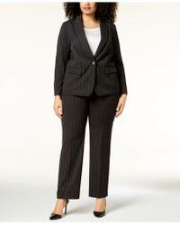 Tahari Plus Size Pinstriped One-button Pantsuit - Black