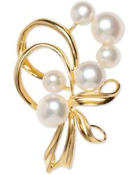 Macy's Cultured Freshwater Pearl (7mm & 5mm) Pin In Sterling Silver And 18k Gold Over Silver - Metallic