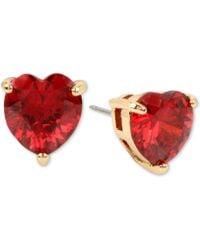 Betsey Johnson - Colored Cubic Zirconia Heart Stud Earrings - Lyst