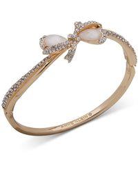 Anne Klein - Gold-tone Pavé & Imitation Pearl Bow Bangle Bracelet - Lyst