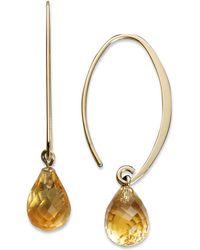 Macy's - 14k Gold Earrings, Citrine Brio Hoops (6-1/2 Ct. T.w.) - Lyst