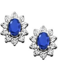 Macy's - 10k White Gold Earrings, Sapphire (1-1/3 Ct. T.w.) And Diamond Accent Stud Earrings - Lyst