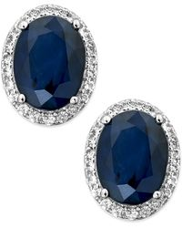 Macy's - Sapphire And White Sapphire Oval Stud Earrings In 10k White Gold (3 Ct. T.w.) - Lyst