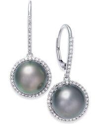 Macy's - Cultured Tahitian Black Pearl (10mm) & Diamond (3/8 Ct. T.w.) Drop Earrings In 14k White Gold - Lyst