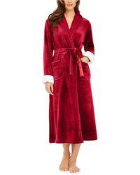Sesoire Faux-fur-trim Long French Fleece Robe - Red