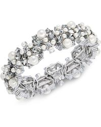 Charter Club - Silver-tone Imitation Pearl, Stone & Crystal Stretch Bracelet, Created For Macy's - Lyst