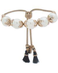 Ivanka Trump - Gold-tone Imitation Pearl & Blue Tassel Slider Bracelet - Lyst