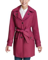 London Fog Petite Hooded Belted Water-resistant Trench Coat, Created For Macy's - Multicolor