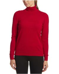 Joseph A Solid Turtleneck With Sleeve Detail - Red