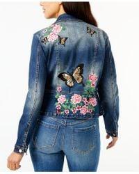 INC International Concepts - Embroidered Denim Moto Jacket - Lyst