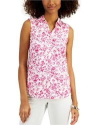 Charter Club Petite Floral-print Sleeveless Blouse, Created For Macy's - Pink