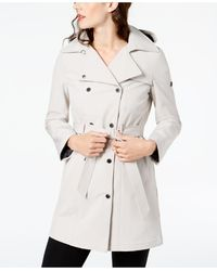 Calvin Klein Petite Double Breasted Belted Trench Coat, Created For Macy's - Natural
