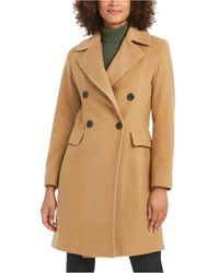 Anne Klein Double-breasted Coat - Natural