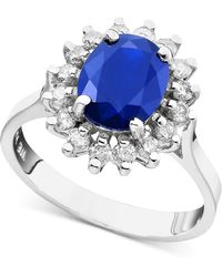Effy Collection - Sapphire (2 Ct. T.w.) And Diamond (1/2 Ct. T.w.) Oval Ring In 14k White Gold - Lyst