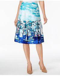 Charter Club Cotton Printed Skirt - Blue