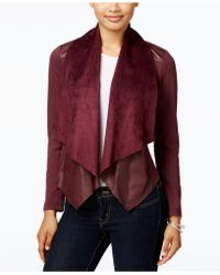 Kut From The Kloth - Draped-front Faux-leather-trim Jacket - Lyst