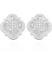 T Tahari Moroccan Metals Clip Button Earrings - Metallic