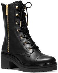 MICHAEL Michael Kors Anaka Leather Combat Boot - Black