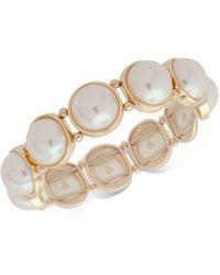 Anne Klein - Gold-tone Imitation Pearl Stretch Bracelet - Lyst