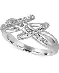 Macy's - Diamond Double Loop Ring (1/3 Ct. T.w.) In Sterling Silver - Lyst