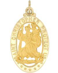 Macy's Saint Christopher Medal Pendant Set In 14k Yellow Gold - Metallic