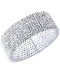 Anne Klein - Silver-tone Crystal Cuff Bracelet - Lyst