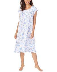 Eileen West Floral-print Pointelle Waltz Nightgown - Blue