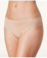 Natori - Bliss Cheeky Lace-trim Thong 750058 - Lyst
